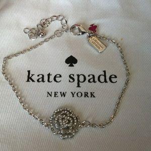 Kate Spade NWOT Silver Crystal Rose Link Bracelet